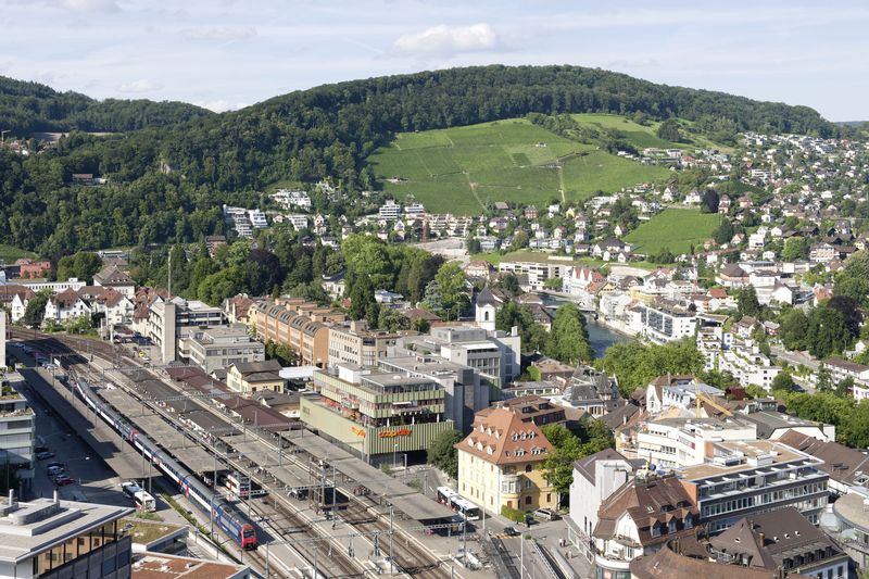 Area of the train station and Badstrasse in Baden