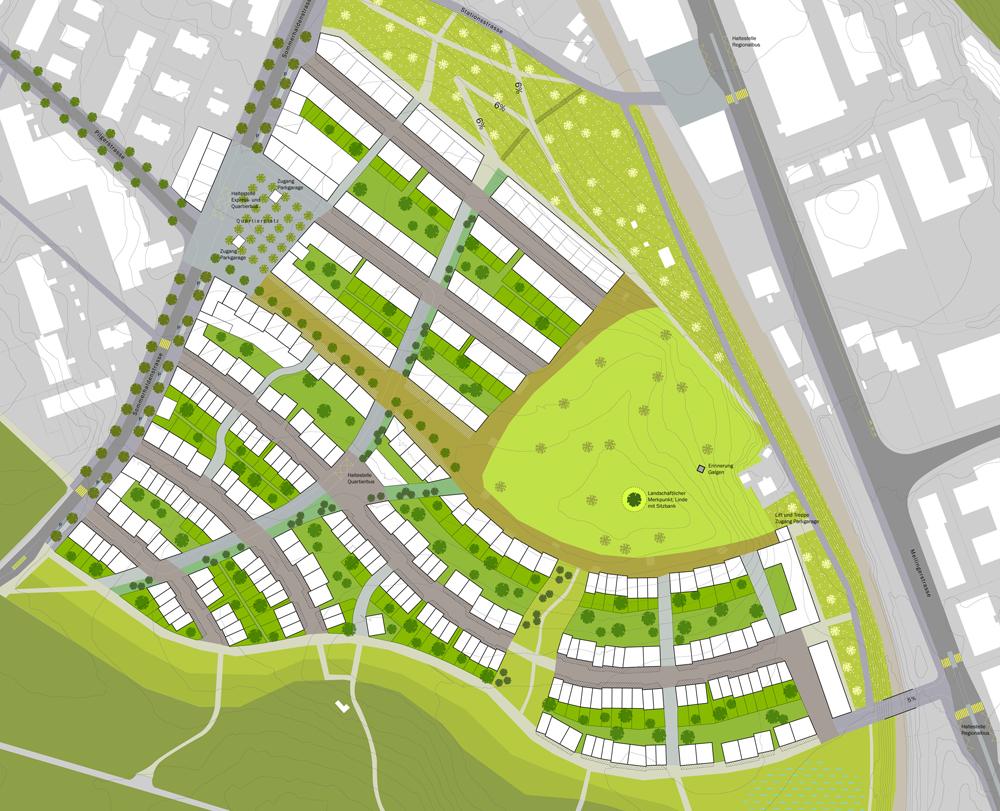 Planentwurf Entwicklungsgebiet Galgenbuck Dättwil Baden