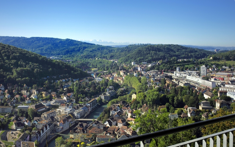 View at the city of Baden from a lookout point © fotografieschule.ch