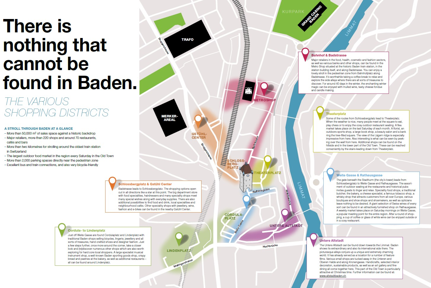 Map of the shopping areas in Baden